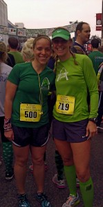 Wearing green and ready to run with one of my favorites.