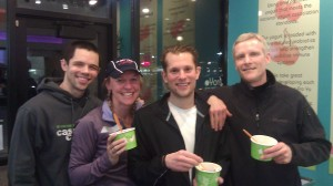 Steve, RRG, Nick and Dan enjoying some post run Froyo