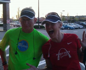 Rick and I after social run on Thursday.  He tried to hold me off, but I blew past him in that last mile.
