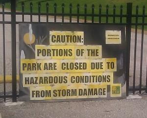Warning at the entrance of Babler
