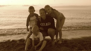 On the beach in MI with my babies