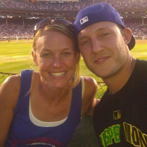 """Little brother"" and I on the evening of June 17, 2012 in the bleachers of Wrigley Field."